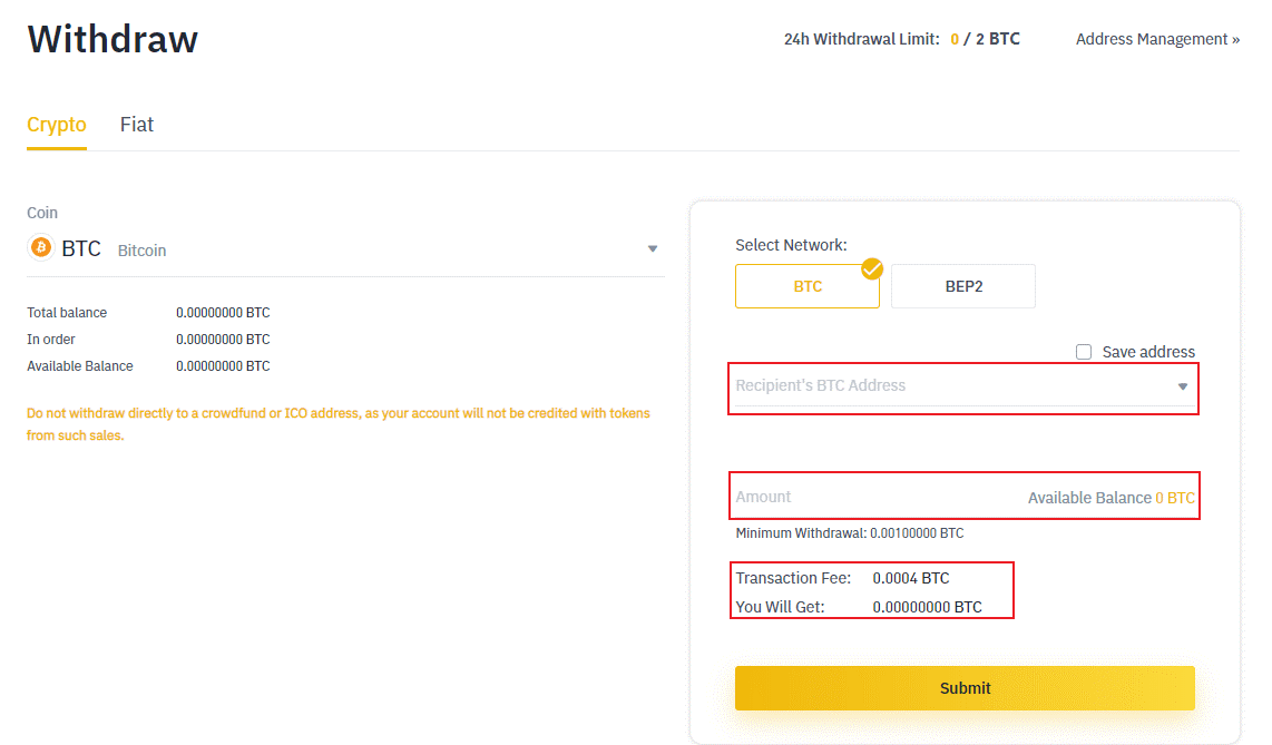 How to withdraw crypto from Binance